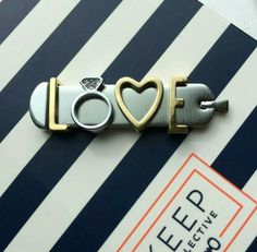"""All you need is love pendant www.keep-collective.com/with/mjm SHOPPING LIST: Brushed Silver Pendant Ring - Pave Silver Gold Heart Gold """"L"""" & """"E"""""""