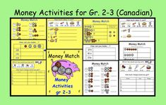 This is a Smart Notebook 11 file with 10 pages of Money Activities for grades Pg 1 Money Math (Students match coins with their value amount.) Pg 2 Money Match (Students match equivalent money values.)Pg 3 How can you make? 38 cents, 14 cents etc. Smart Board Activities, Smart Board Lessons, Fun Math Activities, Math Games, Kinesthetic Learning, Teaching Math, Teaching Ideas, Second Grade Math, Third Grade