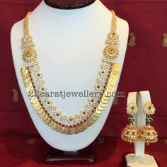 CZ Kasu Mala with Jhumkas - Jewellery Designs