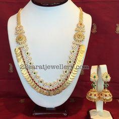 CZ Kasu Mala with Jhumkas - Jewellery Designs