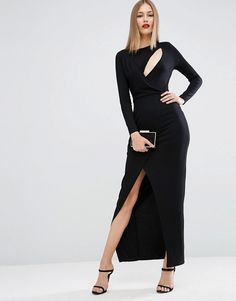 ASOS | ASOS Long Sleeve Drape Open Back Maxi Dress