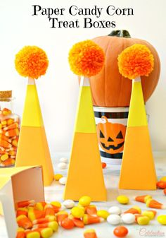 Fun, easy Paper Candy Corn Treat Boxes are perfect for candy or non-candy treats for Halloween or as Thanksgiving favors! At littlemisscelebration.com