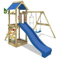 Good FATMOOSE game Tower Swing Blue slide climbing tower climbing stones Garden wood