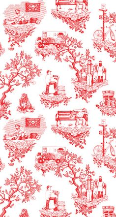 Chinatown Toile @ Flavor Paper: Tasty Handscreened and Digital Wallcoverings