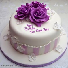 Images result for Pretty Birthday Cakes For Women Happy Birthday Cakes For Women, Vintage Birthday Cakes, Friends Birthday Cake, New Birthday Cake, Birthday Cake Pictures, Pretty Birthday Cakes, Birthday Wishes, Birthday Greetings, 70th Birthday