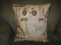 I Love Paris Burlap Pillow by SewcialStudies101 on Etsy, $15.00