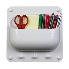 OLife Caddy Organizer for Hanging Keys and Storing Pens Notes Charging Cables Adapters and other Supplies for Offices Classrooms and Homes  White *** Click on the image for additional details.