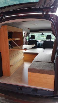 natuerliche-reisemobile - VW Caddy Bildergalerie Caddy Camping, Vw Camping, Minivan Camping, Build A Camper Van, Car Camper, Mini Camper, Van Conversion Interior, Van Interior, Ford Transit