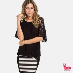 Preto, renda e listras P&B. #lojastenda Em um só look, você consegue reunir elementos altamente desejáveis, ultra femininos, e dar um charme especial ao seu fim de semana. Confira nossas dicas de moda no blog da Tenda: www.lojastenda.com.br/blog/