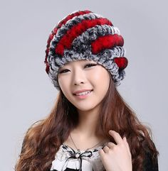 2016 Newest Women's Fashion Real Knitted Rex Rabbit Fur Hats Lady Winter Warm Charm Beanies Caps Female Headgear VK0318