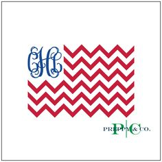 Flag Monogram Vinyl Decal Icon 2 Color Choose from by PreppyCo
