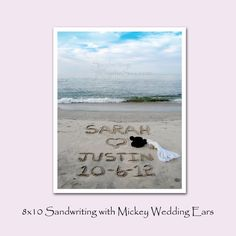 Personalized-Happily Ever After with Bride and Groom Mickey Ears-8x10- Sand Writing Photograph on Etsy, $28.00