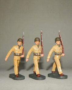 """""""3 Amerikanische Soldaten im Marsch"""" von Elastolin - 7,5 cm Massesoldaten"""