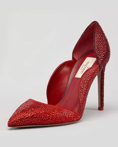 Degrade Crystal Suede Scallop Pump by Valentino at Neiman Marcus.