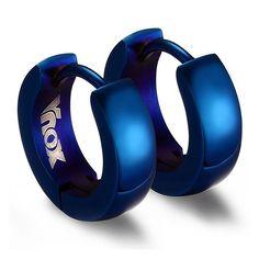 Punk Huggie Earrings for Men Stainless Steel Unique Small Hoop Earrings brincos masculinos Jewelry Model, Ear Jewelry, Trendy Jewelry, Boho Jewelry, Cuff Earrings, Small Earrings, Crystal Earrings, Blue Gold, Black Silver