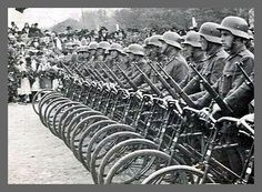 Hungarian Forces  Magyar Bicycle Unit's Arrival, 1940 Old Bicycle, Bike, Antique Bicycles, Military Photos, Skin So Soft, Tricycle, World War Two, Mountain Biking, Wwii
