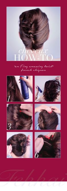 An easy chignon hair how-to, Fekkai style | 1. Grab bobby pins + Fekkai Dry Shampoo 2. Spray hair with Fekkai Dry Shampoo at crown for texture | 3. Gather hair at nape of neck, twist up & hold at crown | 4. While holding twist, grab a section of hair from the side of your head and pull over the twist (Tip: if you twisted clockwise, grab hair from the right said of your head; counterclockwise twist=left side). | 5. Secure hair with bobby pins on the inner most part of the twist. Voila!
