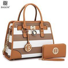 Dasein Women s Designer Padlock Striped Belted Top Handle Satchel Handbag  Purse Shoulder Bag With Wallet ( 4dc9fa29ca0