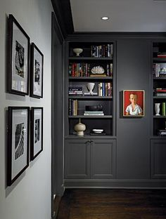 "Benjamin Moore Kendall Charcoal paint.  ""A light colour will never come to life in a dark room but a rich, deep colour can make a dim, somber space feel warm and luminous – even though it receives no natural light."""