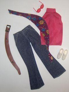 1972 Barbie Good Sports #3351 Complete Outfit Scarf Glasses Belt Tennis Shoes #Mattel #DollClothingAccessories