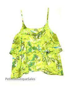 Wet Seal Crop Chiffon Ruffle Floral Print Tank Top Flowy Shirt Cami Size M | eBay