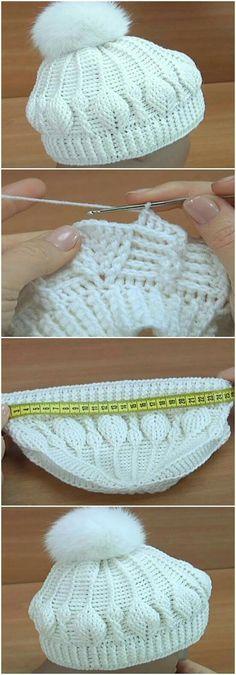 Crochet Beanie Hat Leaf Stitch – Regina Watters – Join in the world of pin Bonnet Crochet, Crochet Beanie Pattern, Crochet Cap, Crochet Baby Hats, Easy Crochet, Crochet Stitches, Free Crochet, Knitted Hats, Stitch Crochet