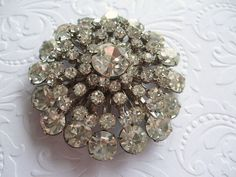 Rhinestone Brooch Large Dazzling Multi Layer Wedding by STLvintage, $48.00