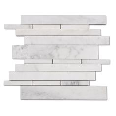 White Carrara Carrera Random Strip Natural Stone Mosaic Tile