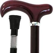 Petite Shock Absorber stick with chrome plated spring, height adjustable black shaft with Burgundy derby handle. Silver gilt trim under handle.    !!<  Height adjusts from 69cm to 93cm  Rubber ferulle  Weight 300g