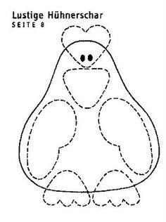 Gallina de cartulina. Molde. Hen template