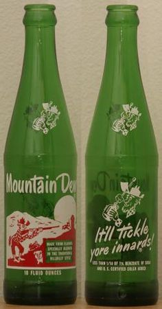 Mountain Dew is a citrus-flavored carbonated soft drink brand. It's Mountain Dew! Old Bottles, Vintage Bottles, Vintage Ads, Glass Bottles, Vintage Food, Antique Bottles, Vintage Stuff, Vintage Advertisements, Vintage Signs