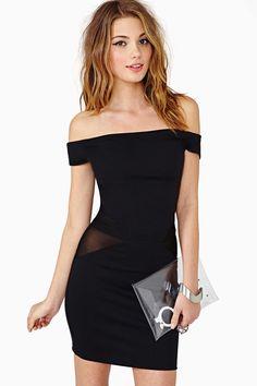 Black off the shoulder dress. Va va voom! Scandalous, curious about the hip cutouts