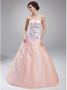 Duchesse-Linie Trägerlos Bodenlang Satin Tüll Quinceañera Kleid (Kleid für die Geburtstagsfeier) mit Spitze Perlen verziert Pailletten