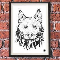 Czechoslovakian Wolfdog Dog A4 illustration print art by mmuffn