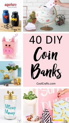 40 Cool DIY Piggy Banks For Kids & Adults Saving money is a challenge for every family. That's why we've rounded-up 40 of the most cool DIY piggy banks that are both adult and kid-friendly! Diy And Crafts Sewing, Upcycled Crafts, Diy Crafts To Sell, Diy Projects To Sell, Fun Crafts For Kids, Diy For Kids, Cool Crafts, Simple Crafts, Cool Diy