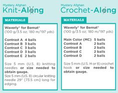 Create a mystery aghgan using Bernat's Waverly yarn.  Learn new stitches and patterns.  starts Feb. 15,2012 Info on the forum