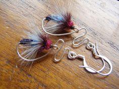 Heather Fly Fishing Earrings Fly Fishing Flies by RiverBlendStudio