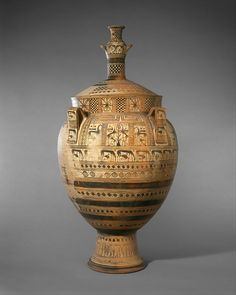 Terracotta krater with lid surmounted by a small hydria - Attributed to the Cesnola Painter Period: Geometric Date: ca. Ancient Greek Art, Ancient Greece, Archaic Greece, Bronze Age Civilization, Roman Art, Minoan, Pottery Sculpture, Ancient Artifacts, Metropolitan Museum