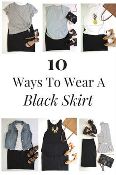 10 Ways To Wear A Black Skirt - whether it's with a peplum top, gray tee, stipe tee, denim vest, tank, cardigan, cold shoulder top, chambray shirt or eyelet top, this cotton knit skirt is so versatile!