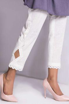 Zeenwomen Default Category Embellished Cigarette Pants design Zeen by Cambridge Salwar Designs, Kurti Neck Designs, Dress Neck Designs, Kurta Designs Women, Kurti Designs Party Wear, Blouse Designs, Kurti Sleeves Design, Sleeves Designs For Dresses, Pakistani Fashion Casual