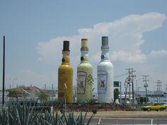Giant Tequila Bottles in Guadalajara Mexico