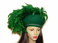 Jack McConnell Hat, Monumental Emerald Green Feather Plume, Rhinestones. $395.00, via Etsy.