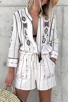 Fashion Turndown Collar Loose Printed Colour Jumpsuits – chiclinen jumpsuit outfit jumpsuits casual jumpsuits for women jumpsuits and romper summer romper cute rompers Jumpsuit Casual, Maternity Jumpsuit, Jumpsuit Outfit, Striped Jumpsuit, Floral Jumpsuit, Pants Outfit, Gold Jumpsuit, Elegant Jumpsuit, Overall Shorts