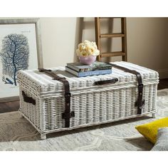 Navarro Rattan Coffee Table Trunk in White - Safavieh with vintage charm, this white rattan coffee table trunk serves double duty as a pretty piece of furniture. Designed with faux leather straps, cotton lining and hinge top, it its ample Wicker Coffee Table, Wicker Trunk, Lift Top Coffee Table, Coffee Table With Storage, Wicker Baskets, Coffee Tables, Storage Trunk, Wood Storage, Table Storage