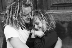 "Pinner wrote, ""a photo of my friend Erik and his boy. their matching hair makes me happy. for the record, lake had his dreads before erik. ;)""  AWWW <3"