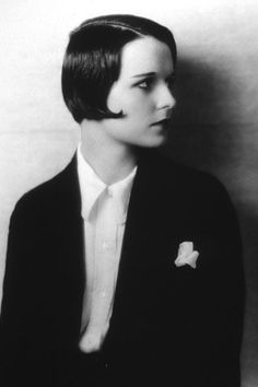 Louise BrooksAndrogynous. I love that this actress completely captures the boyish look that women began to take on in the 1920s.