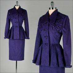 Gorgeous midnight blue 1940s Lilli Ann skirt suit. #vintage #1940s #fashion #suits
