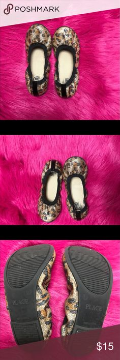Kids Leopard Flats Sz 13 (Children's Place) This cute little sparkled flats are adorable!! Have your diva add this to her shoe collection. They can be dressed up or down. They are a size 13. That are true to size. Children's Place Shoes Moccasins