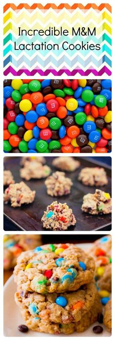 Incredible M&M lactation cookies to give your milk supply a needed boost. - Baby idea (for when the time comes) - Lactation Cookies Lactation Recipes, Lactation Cookies, Lactation Foods, Lactation Smoothie, Baby Food Recipes, Cookie Recipes, Dessert Recipes, Breastfeeding Foods, Milk Supply