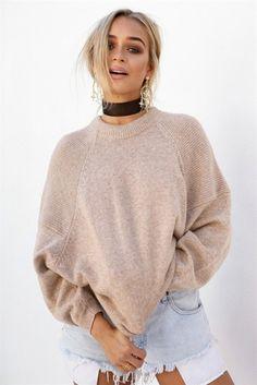 Sweater: beige sabo skirt black choker distressed denim shorts oversized summer